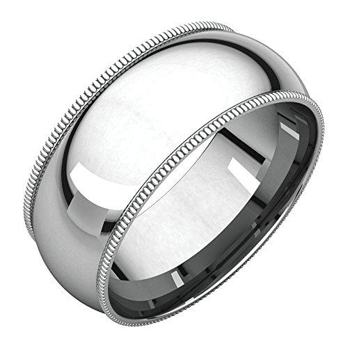 Bonyak Jewelry Palladium 8 mm Milgrain Comfort-Fit Band in Palladium - Size 12.5