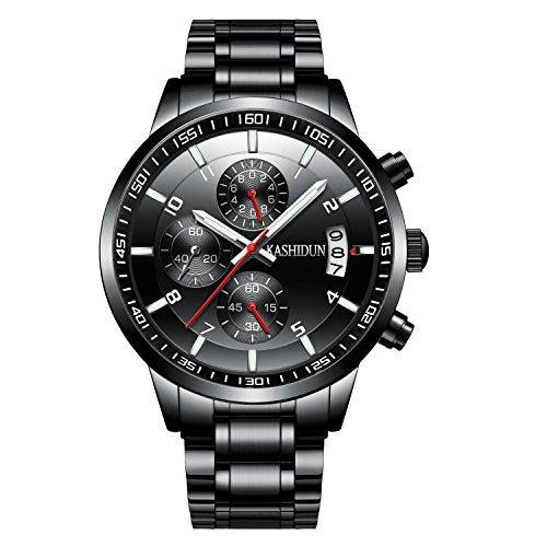 KASHIDUN Men's Wrist Quartz Watches Medium Watch Case With Watch Batteries Strap Box Watches For
