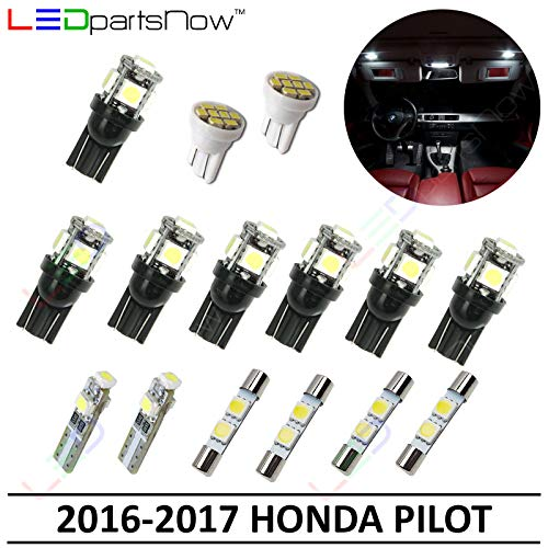 LEDpartsNow Interior LED Lights Replacement for 2016-2017 Honda Pilot Accessories Package Kit (15 Bulbs), WHITE