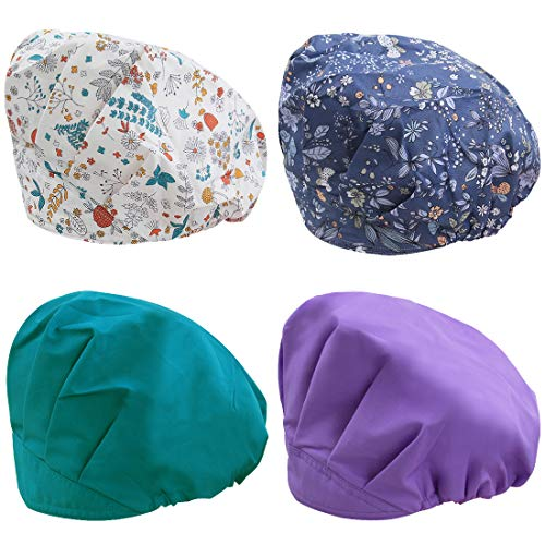 kilofly 4pc Women's Adjustable Scrub Cap Sweatband Bouffant Hats Value Set -