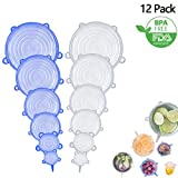 12 Pack Silicone Stretch Lids, rabofly Various Size Food Storage Covers Reusable Durable and Expandable for Keeping Food Fresh, Dishwasher Refrigerator and Microwave Safe