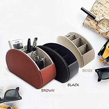 Multi-Function Desk Stationery Organizer Storage Box Pen Pencil Holder Business Cards Stand Mobile Phone//Remote Control Holder Office Supplies Holder Collection Desktop Organizer Brown