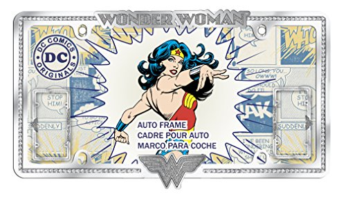 Chroma 042538 DC Comics Wonder Woman Logo & Text Chrome Diamond Stud Frame, 1 Pack (Women Car Accessories Wonder)