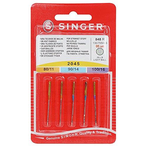 Singer Jersey Aguja 2045Mix 5Agujas, Metal, Plata, 7x 0,03x 4cm, 5Unidades de Medida N2045B05AS848R
