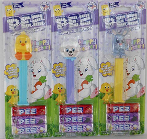 - Bundle of 3 Easter Pez - Duckie and Lamb and Full Body Grey Bunny in Blister Card Packages with 3 Rolls Candy Each - Including New Seasonal Candy Flavor Vanilla Cupcake