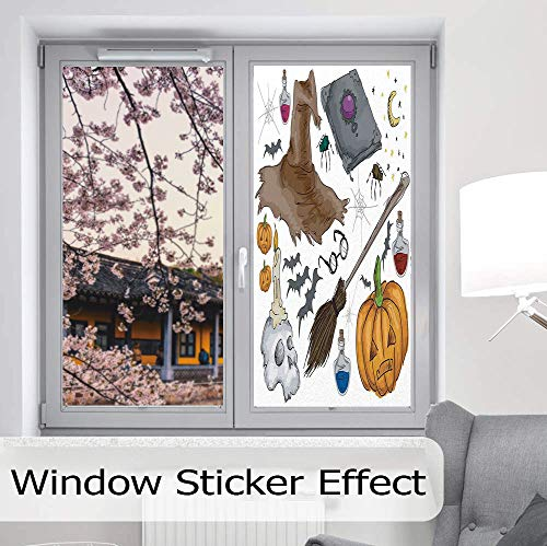 C COABALLA Privacy Window Film Decorative,Halloween Decorations,for Glass Non-Adhesive,Magic Spells Witch Craft Objects Doodle Style Grunge,24''x48'' ()