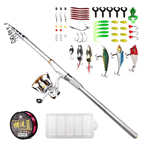 Telescopic Fishing Rod and Reel Combos Handing Magician Carbon Fiber Fishing Pole with Spinning Reel , Lures , Fishing Line, Hooks for Freshwater Saltwater and Boat Fishing 2.7m/8.86ft Review