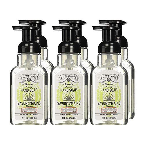 J.R. Watkins Hand Soap, Foaming, 9 fl oz, Aloe & Green Tea (6 pack)