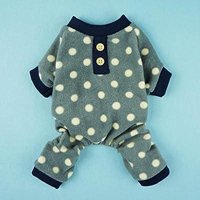 Fitwarm® Adorable Polka Dots Fleece Dog Pajamas Pet Coats Soft Pjs Apparel