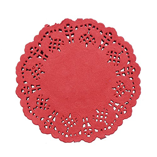DECORA 3.5inch Round Colorful Paper Lace Doilies Wedding Tableware Decoration,Pack of 100,Red.
