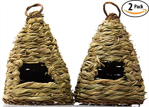 Woven Birdhouse 2 Pack: 10 Hive-Style. Ideal for Small Birds & Hummingbirds to Rest In. Bird Houses Are Made of Natural Fiber to Blend Into Your Garden. For Outside or Inside Decorative Use. (Hummingbird Bird House compare prices)
