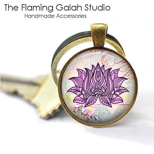 Amazoncom Purple Lotus Flower Key Ring Lotus Drawing Peace