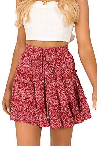 Alelly Women's Summer Cute High Waist Ruffle Skirt Floral Print Swing Beach Mini Skirt Red