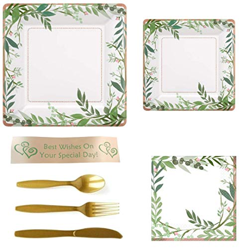 Rose Gold Foil and Leaves Vintage Party Supplies for Bridal Showers, Weddings, Anniversaries, Birthdays, Baby Showers and Tea Parties ()