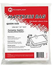 Self Adhesive Queen Mattress Bag for Moving and Storage, 3 Mil Queen Mattress Cover with Double Adhesive Strips