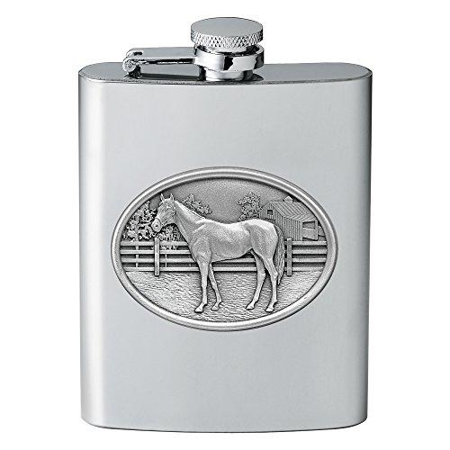 CMC Heritage Pewter Wildlife Racehorse Flask, One Size (Wild Race Horse)
