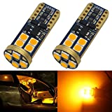 2-Pack T10 194 168 921 600Lums Amber/Yellow Extremely Bright No Polarity Canbus Error Free LED Light 12V-18V,12-SMD 3030 Chipsets Car Replacement Bulb For 168 2825 Backup Reverse Side Marker Light