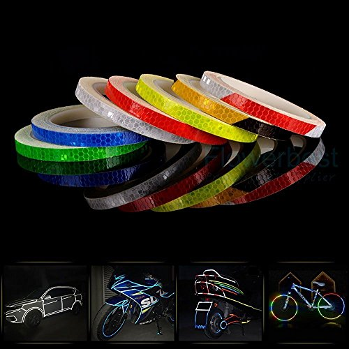AM Safety Reflective Warning Lighting Sticker Adhesive Tape Roll Strip. for Beautify Bicycle Bike Decoration (White)