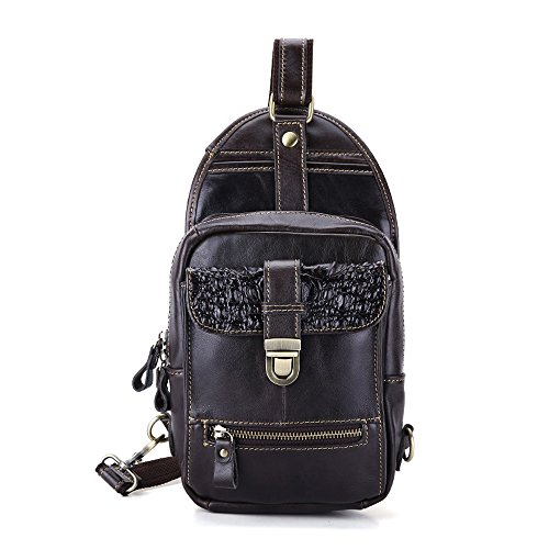 Sling Ybriefbag Travel Business Body Bag Leather for Working Vintage Pack School Cycling for Sports Chest Men Outdoor Backpack Women Crossbody Hiking Genuine Cross Shoulder Backpack Black 7yUA7rxaqw