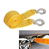 3 Tons Heavy Duty 3M Road Emergency Trailer Rope Tow Strap Line With 2 Hooks