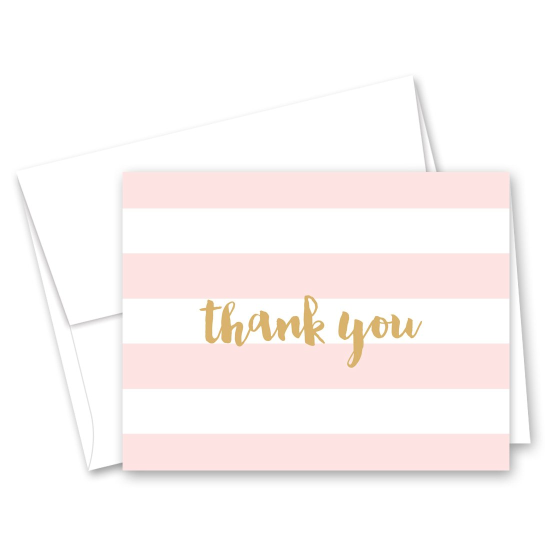 50 Horizontal Stripes Script Thank You Cards (Pink-Gold)