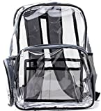 NEW! Quality Clear Backpack Black and Gray Heavy Duty Transparent, See-Through, Large (Black Gray)