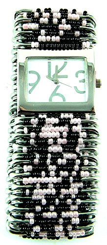 (PlanetZia Safety Pin Stretch Watch with Black and Light Pink Beads WT-BLP)