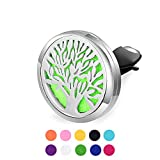 Sunling Home Car Stainless Steel Aromatherapy Essential Oil Diffuser Locket Clip Tree Of Life 10 Pads