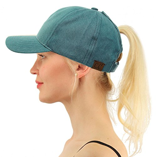 (C.C Ponytail Messy Buns Trucker Ponycaps Plain Baseball Visor Cap Dad Hat Washed Teal)
