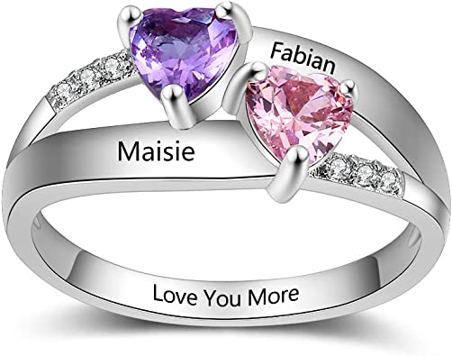 OPALSTOCK Personalized Promise Rings for Her Engagement Rings for Wedding Mother Rings for Women with 2 Simulated Birthstones