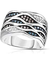 Monique Embellished Cigar Ring - 0.50 Carat Blue, White and Brown Diamonds in Rhodium Plated 925 Sterling Silver, Size 7, Hypoallergenic