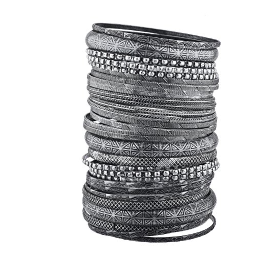 Lux Accessories BurnishedSilver Tone Tribal AztecTexturedMultiple Bangle Set from Lux Accessories