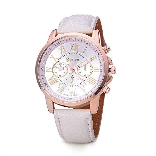 Yellow Bracelet Jelly (CdyBox Women Men Lady Teen Girl PU Leather Band Watches Roman Numerals Dial Analog Quartz Wristwatches (White))