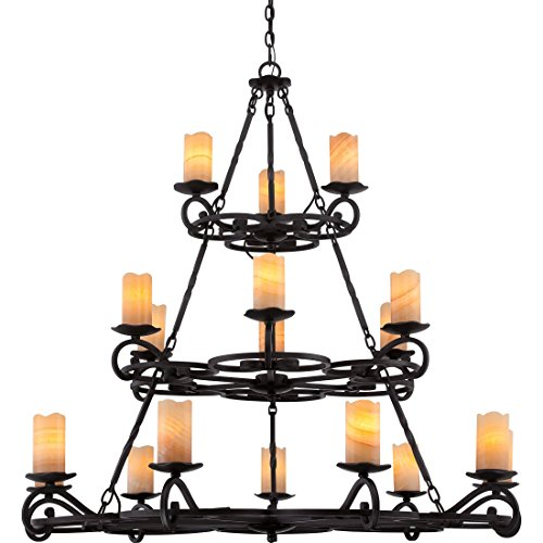 Quoizel AME5018IB Armelle Wrought Iron Faux Alabaster Candle Chandelier, 18-Light, 1080 Watts, Imperial Bronze (49