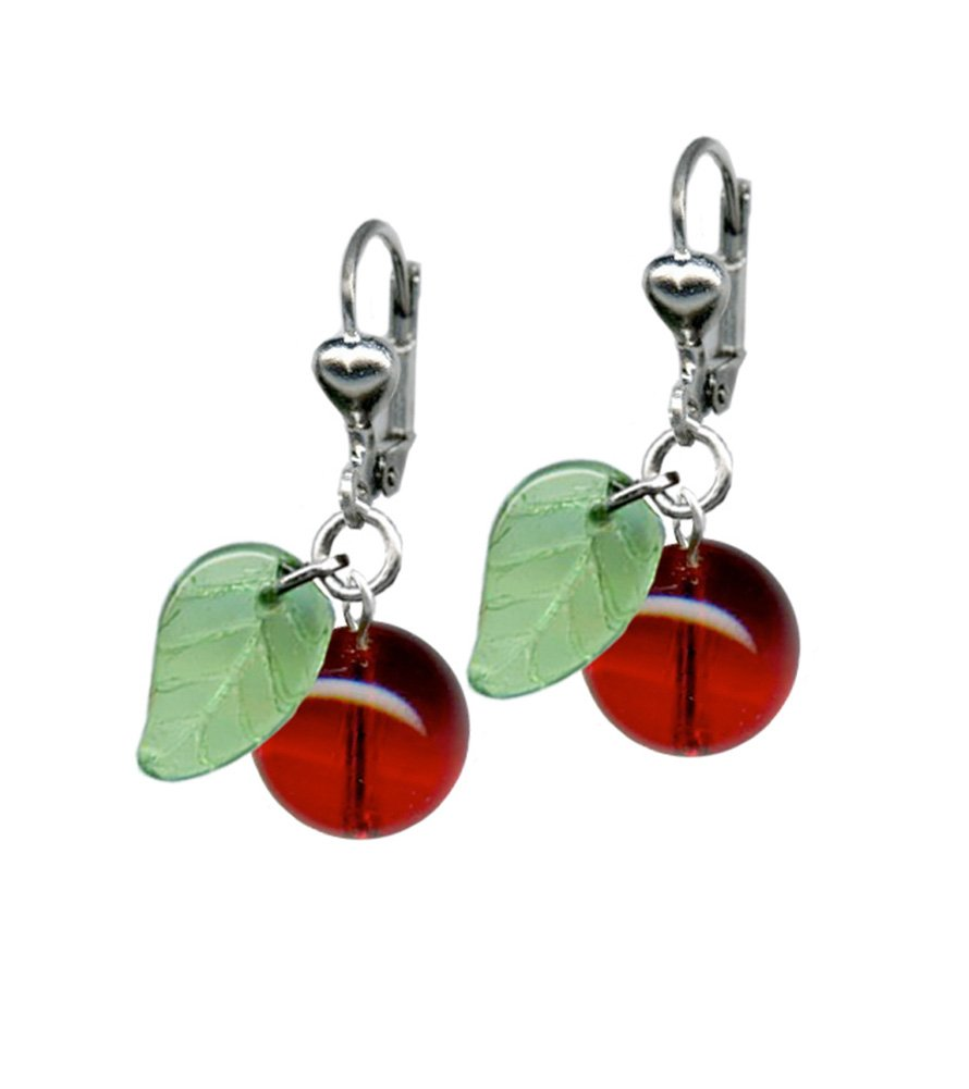 Classic Hardware Cherry Retrolite Glass Earrings