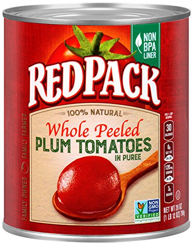 Redpack Whole Peeled Plum Tomatoes in Puree, 28oz Can (Pack of 12) (Tomatoes Plum)