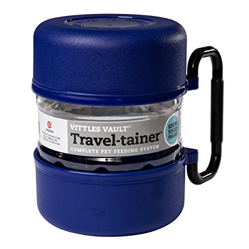 Dog Travel Feeder - Vittles Vault Gamma TRAVEL-tainer, Blue