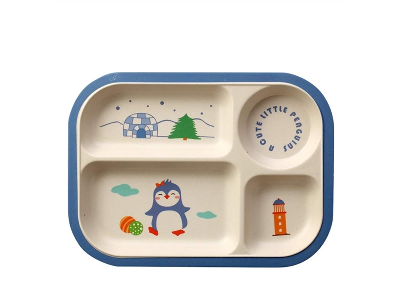 Yuchoi Contemporary Bamboo Fiber Cartoon Animal Dish Children Plate Kids Separate Bowl for Soup or Rice(Penguin)
