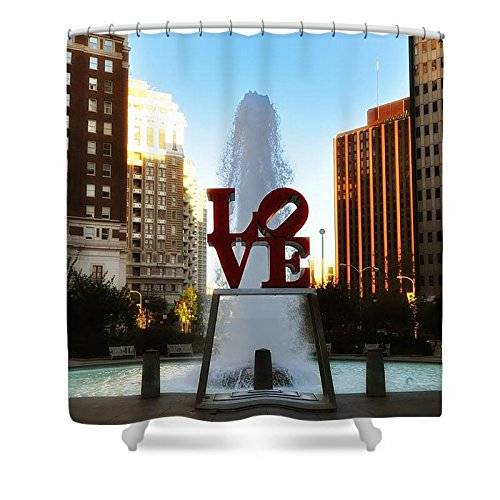 Pixels Shower Curtain (74'' x 71'') ''Love Park - Love Conquers All''