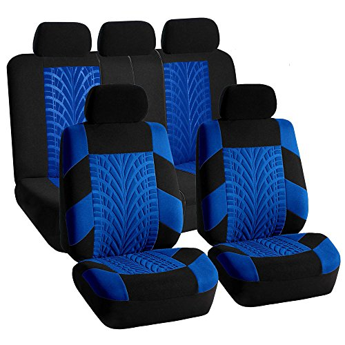 FH Group FH-FB071115 Complete Set Travel Master Seat Covers Airbag Ready & Rear Split Blue/Black- Fit Most Car, Truck, SUV, or Van