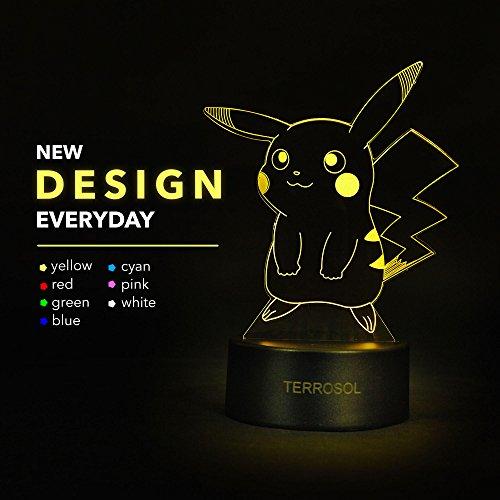 Terrosol Pokemon Pikachu 3D Night Light - Pokemon Gifts - 3D...
