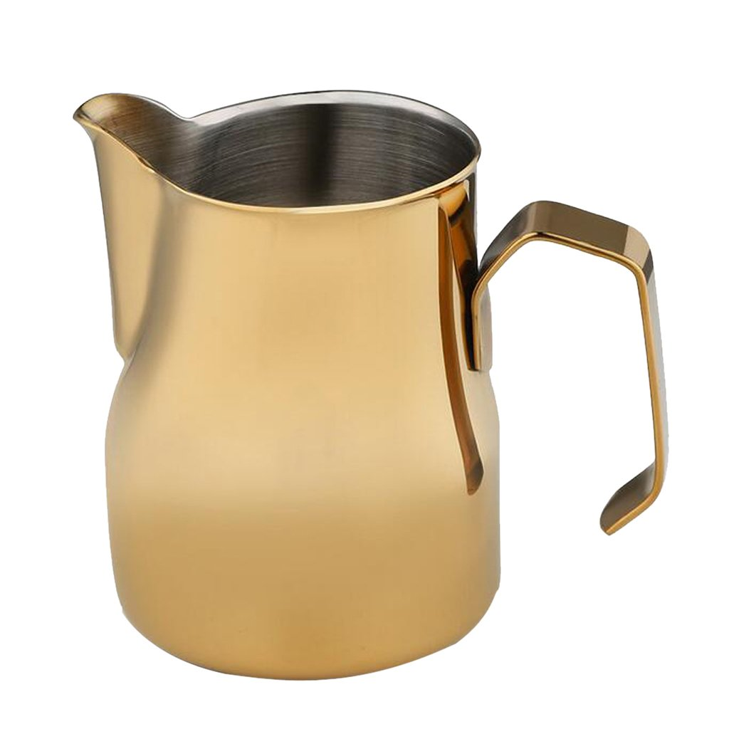 MonkeyJack 350ml/550ml/750ml Stainless Milk Frothing Pitcher Coffee Espresso Milk Jug - Gold, 350ml