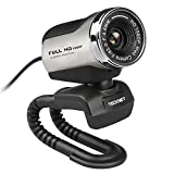 HD Webcam, Tecknet 1080P Plug and Play Web Camera with Noise-canceling Microphone for Video Calling and Recording, Skype, YouTube, Stream Cam for PC, Laptops and Desktop