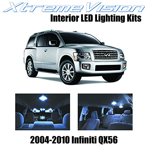 XtremeVision Infiniti QX56 2004-2010 (13 Pieces) Cool White Premium Interior LED Kit Package + Installation Tool (Infiniti Qx56 Parts)
