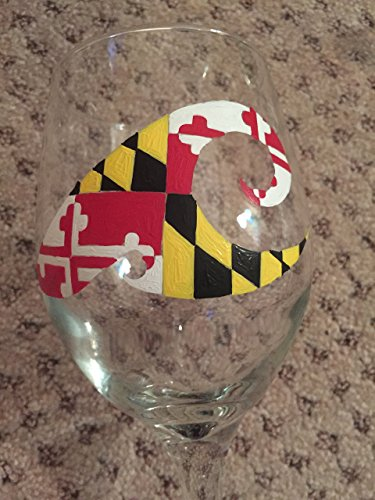 Maryland Flag Hand Painted Glass ()