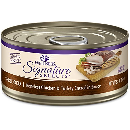 Wellness Core Signature Selects Grain Free Wet Canned Cat Food, Shredded Chicken & Turkey,5.3-Ounce (Pack Of 12)
