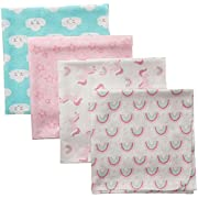Luvable Friends 4 Piece Flannel Receiving Blanket, Unicorn, One Size