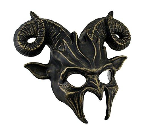 [Demonic Horned Devil Metallic Finish Half Face Mask] (Demonic Masks)