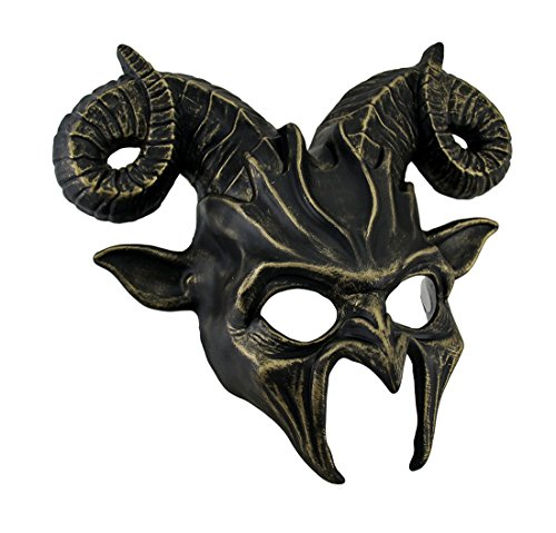 [Demonic Horned Devil Metallic Finish Half Face Mask] (Scary Woman Devil Costume)