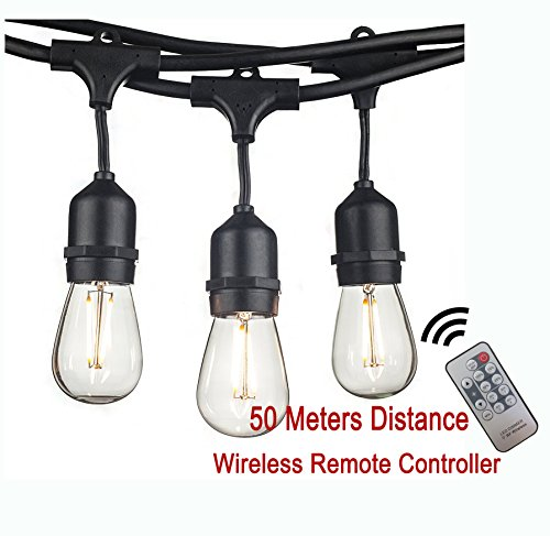Sunye Lighting Wireless Remote Control Dimmer LED Outdoor String Lights with remote 48 FT with 15 Dropped Sockets,18-2Watt Dimmable LED Bulbs,(3 Extra) & Wireless Remote Control Dimmer Included